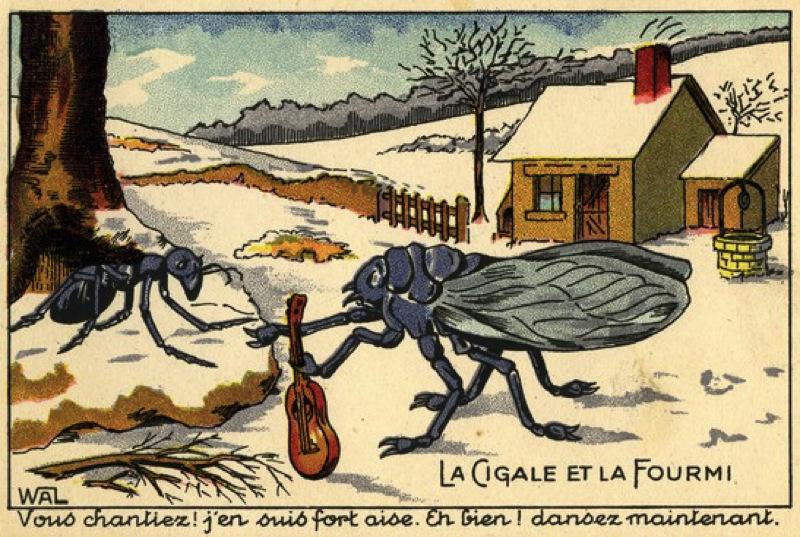Sur la fable de la cigale et la fourmi de la fontaine le - Dessin d une fourmi ...
